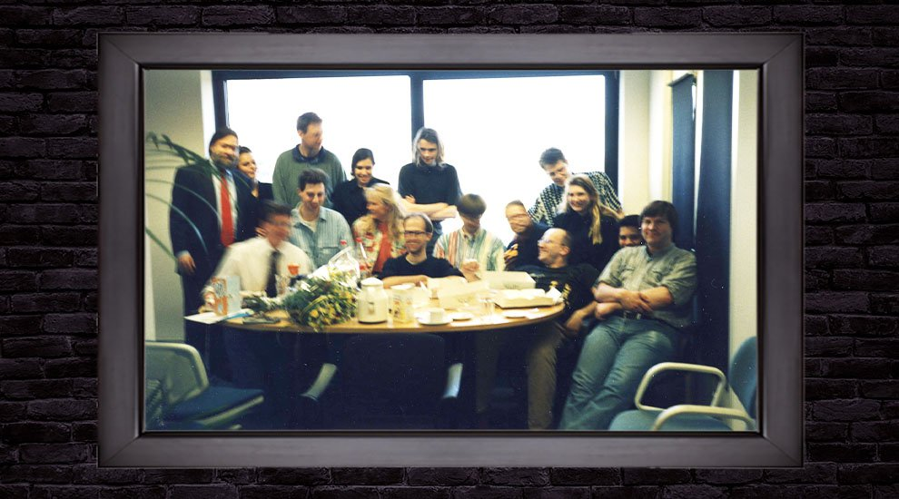 The DigiCash Team: David Chaum pictured to the far left; Nick Szabo to the far right
