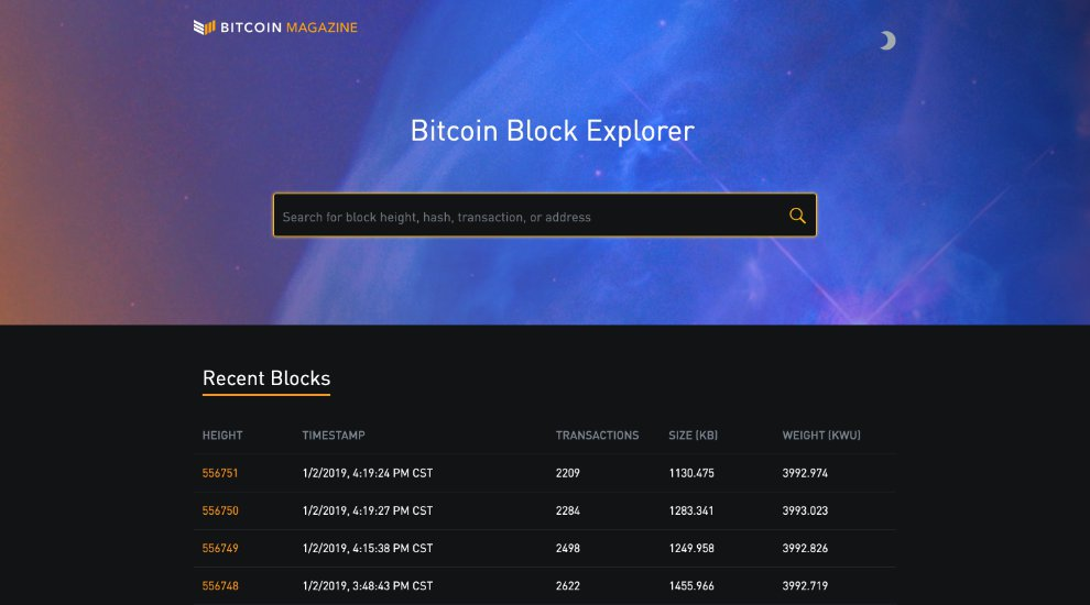 Bitcoin Magazine Launches Custom Block Explorer