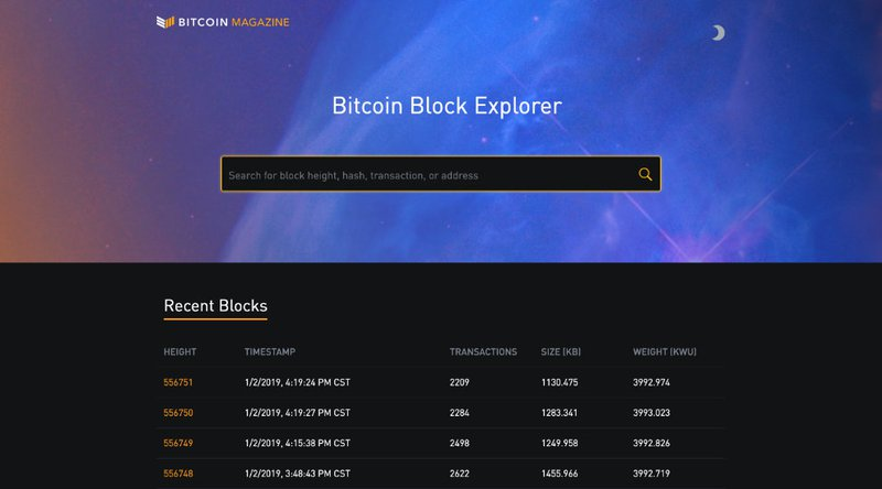 bitcoin magazine block explorer