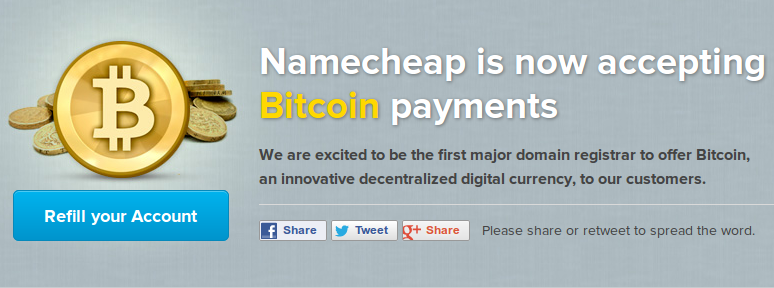 Namecheap Latest to Accept Bitcoin