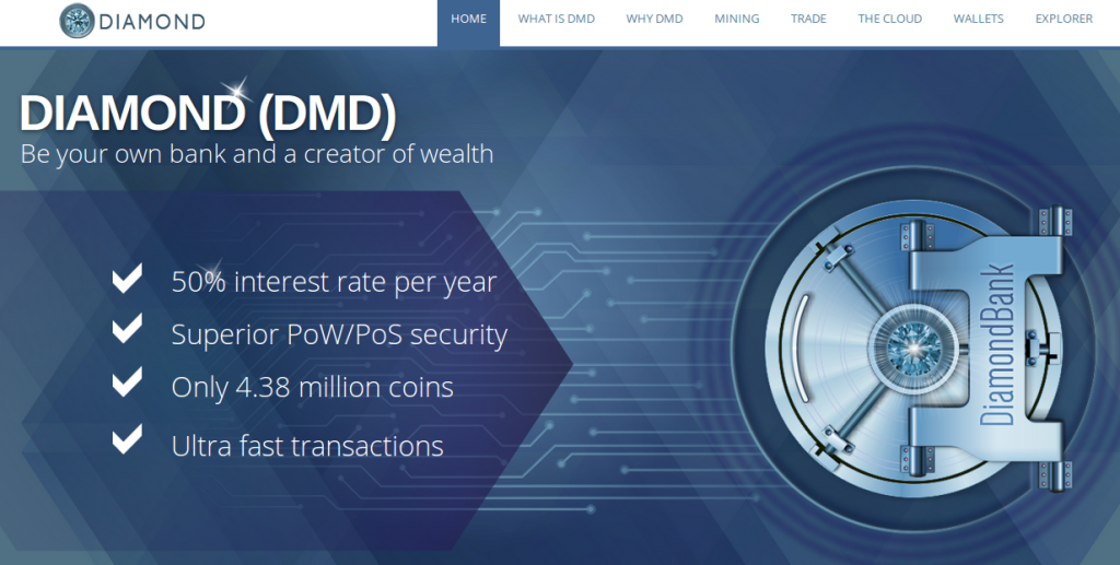 After Two Years of Development, Bitcoin Alternative Diamond Coin (DMD) Offers 50% Annual Interest