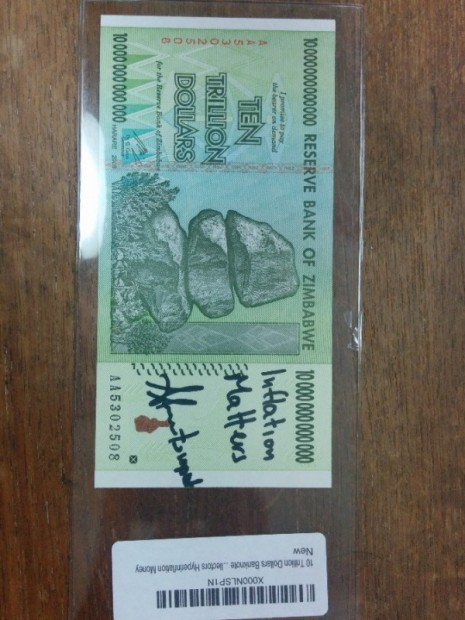 Signed Ten Trillion Dollar Bill by Andreas Antonopoulos